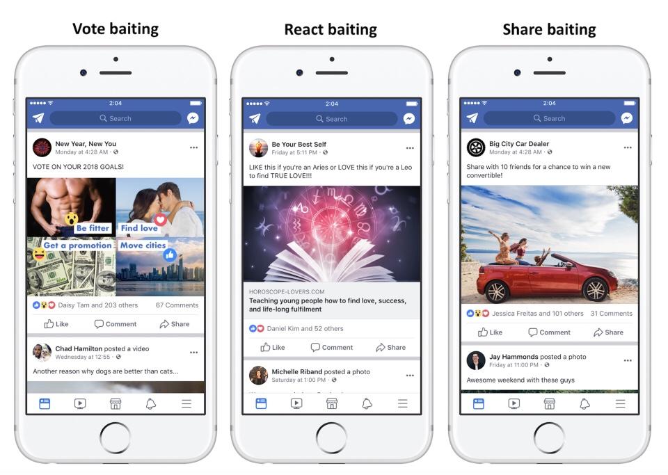 Facebook contro l'acchiappa interazioni